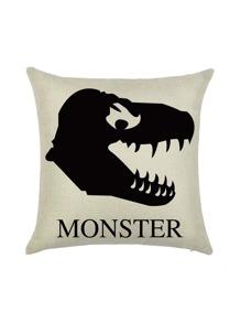 Funda de almohada con estampado de monstruo - albaricoque