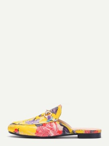 Yellow Floral Embroidered Satin Loafer Slippers