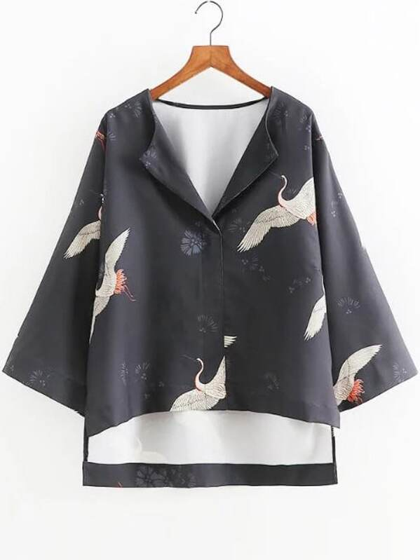 Crane Print Loose High Low Blouse, null