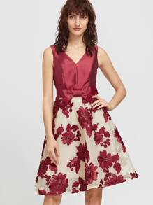 Burgundy Embroidery Double V Neck Bow Tie Flare Dress