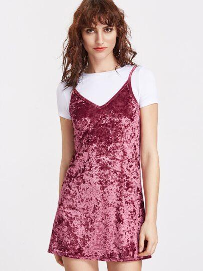 Burgundy Crushed Velvet Cami Dress