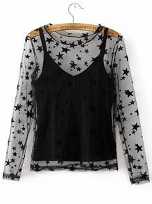 Black Spaghetti Strap Velvet Cami Top With Star Pattern Sheer Top