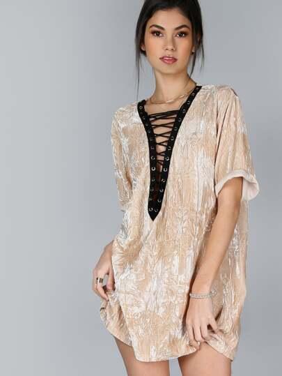 Contrast Lace Up Plunge Neck Crushed Velvet Tee Dress