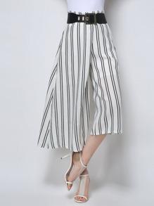 White Vertical Striped Wide Leg Pants