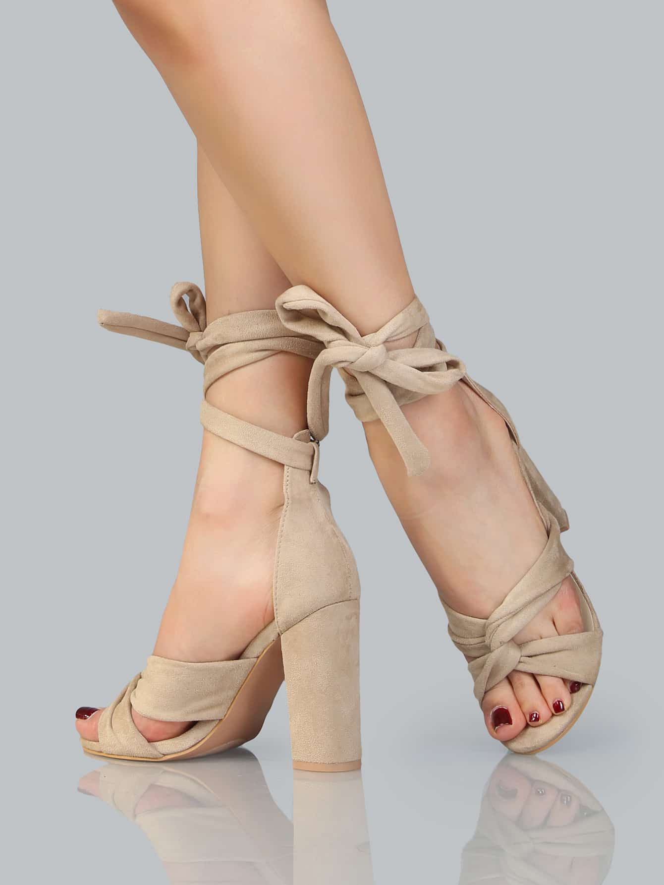 Faux Suede Lace Up Chunky Heels NUDE -SheIn(Sheinside)