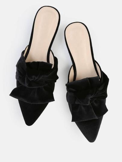 Ruffle Knot Velvet Flats BLACK