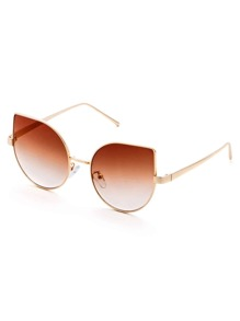 Gold Frame Brown Cat Eye Sunglasses