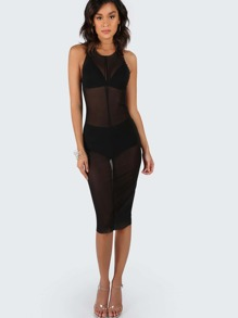 High Neck Mesh Tank Dress BLACK