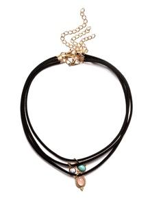 Black Multilayer Gemstone Pendants Necklace