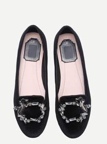 Black Gem Embellished Velvet Flats