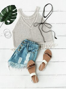 Apricot Tassel Trim Hollow Out Crop Tank Top