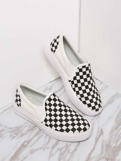 White Damier Design Rubber Sole Low Top Sneaker