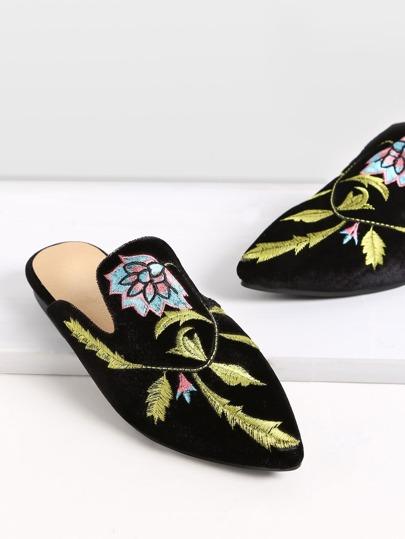 Samt Loafer Schuhen mit Blumen Stickereien-schwarz