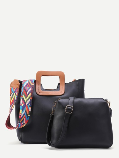 Black Square Handle Tote Bag With Geometric Print Strap Bag