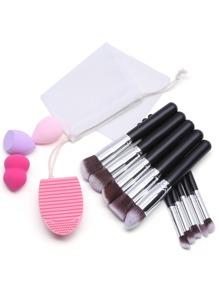 Sponge Cleaner Brosse Set Et 10Pcs Pinceaux De Maquillage Avec Sac