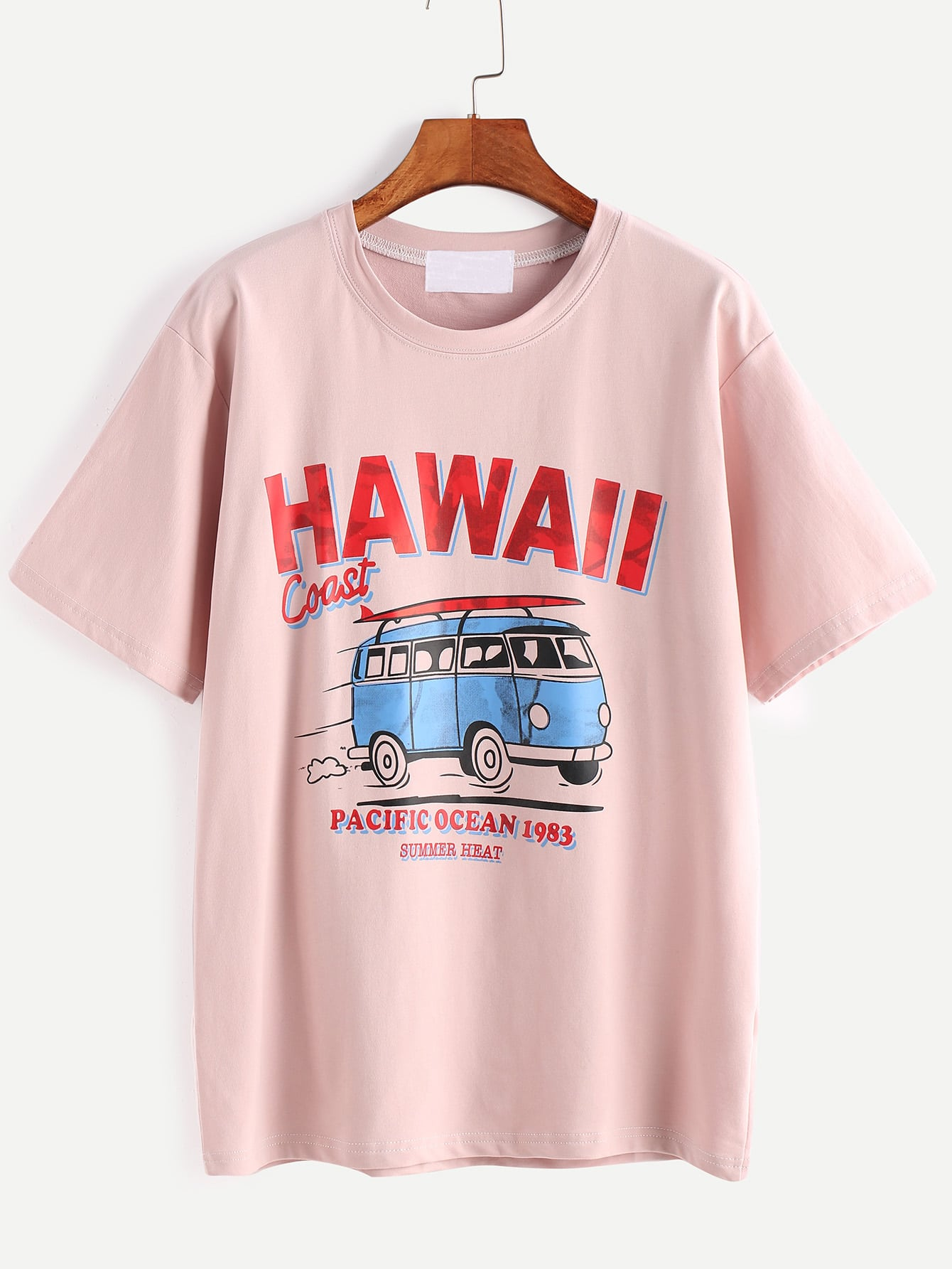 Pink Letter And Cartoon Print T-shirt tee170106005