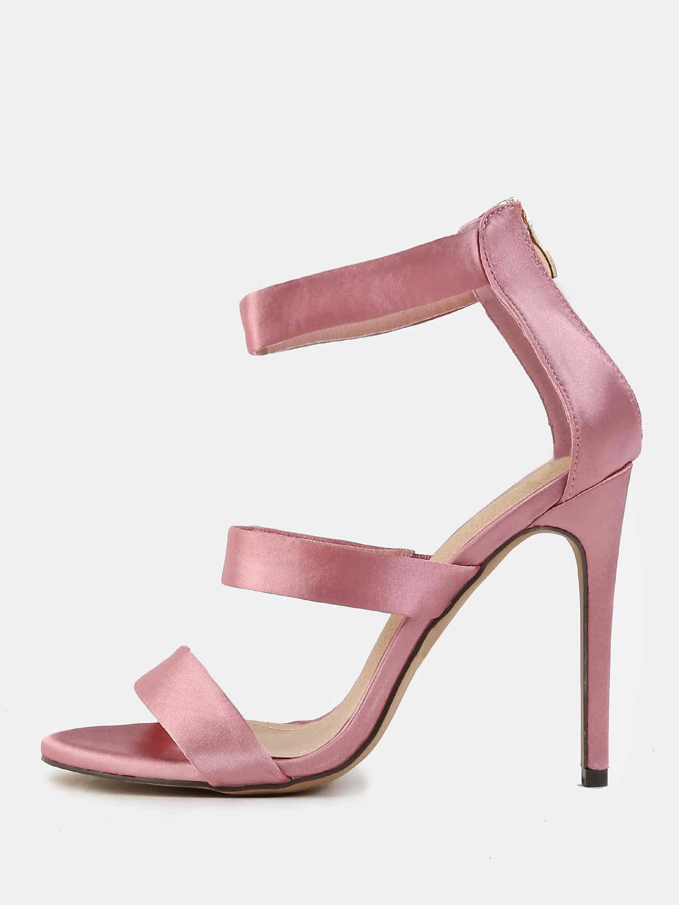 Triple Strap Satin High Heels DUSTY PINK -SheIn(Sheinside)