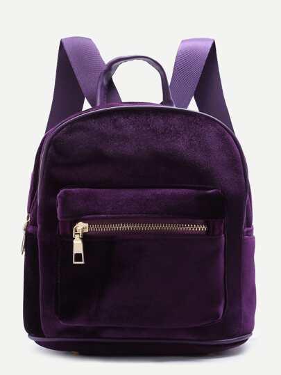 Purple Zipper Detail Velvet Backpack