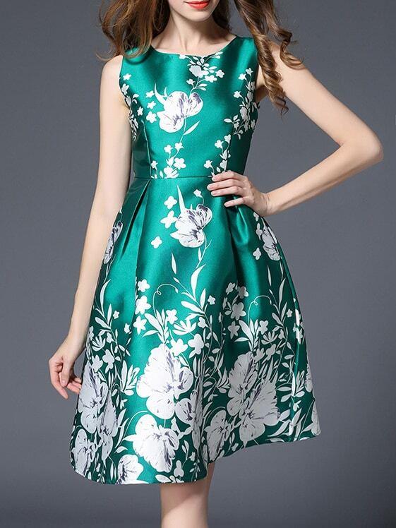 Фото Green Sleeveless Flowers Print A-Line Dress. Купить с доставкой