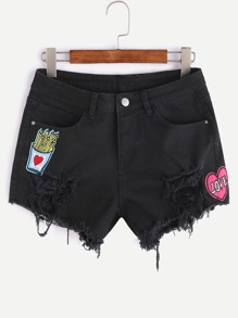 Shorts détail de patch en denim - noir