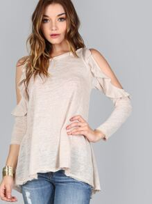 Cold Shoulder Ruffled Top BEIGE