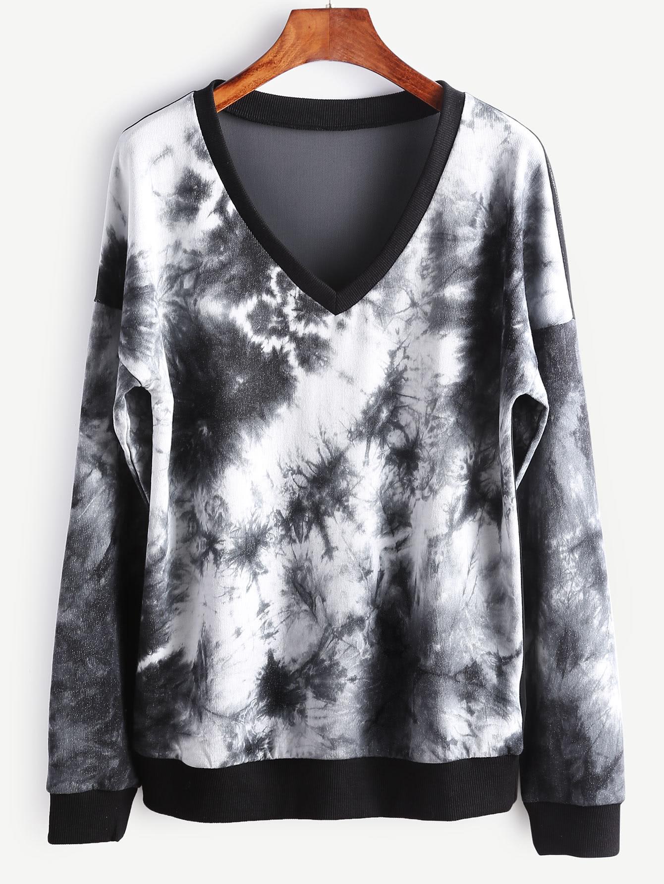Фото Tie Dye Print Sheer Mesh Back Dropped Shoulders Sweatshirt. Купить с доставкой