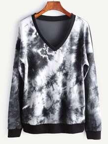 Tie Dye Print Sheer Mesh Back Dropped Shoulders Sweatshirt