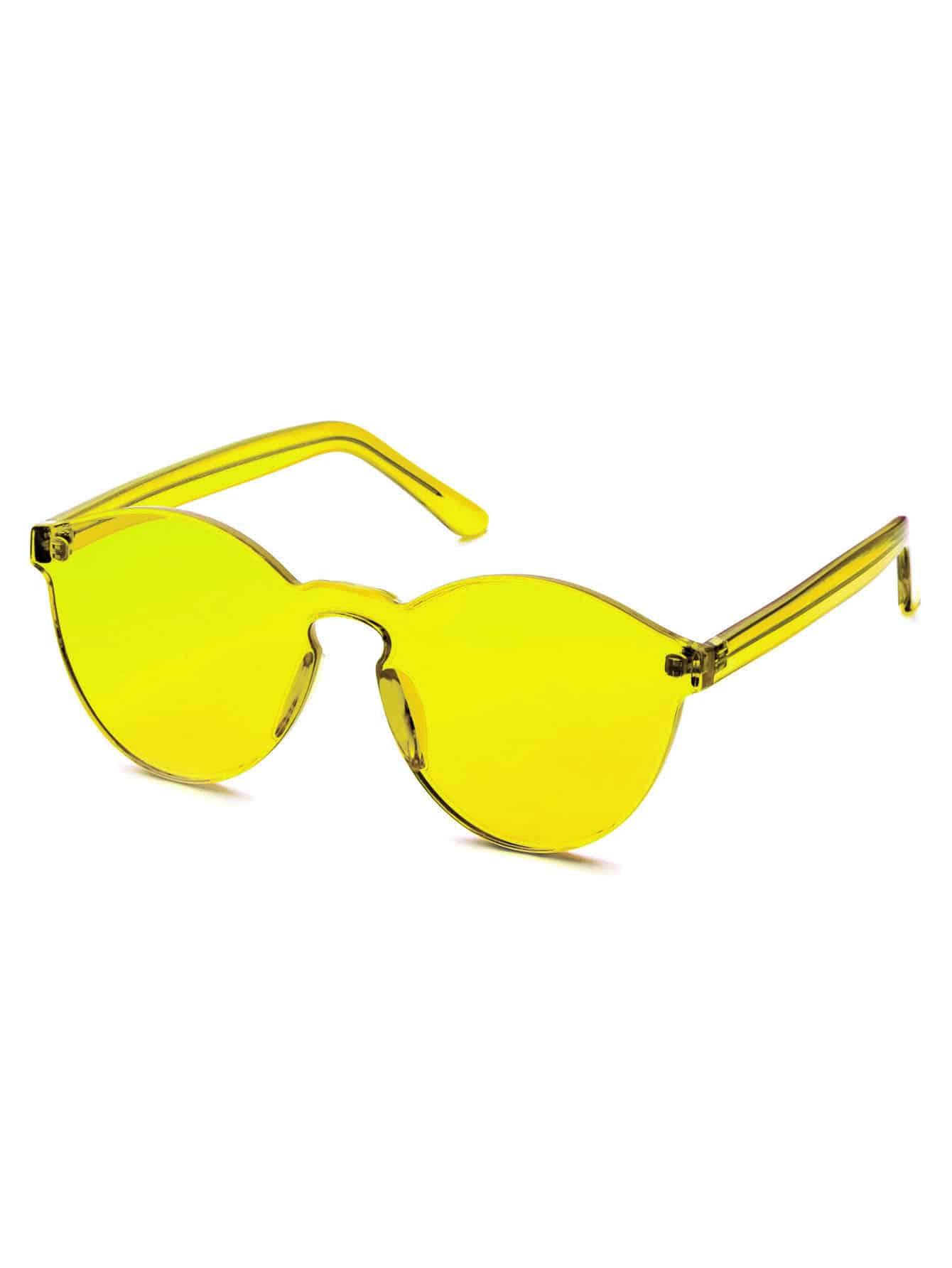 Orange Clear One Piece Retro Style Sunglasses