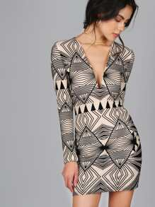 Geometric Bodycon Dress TAUPE MULTI