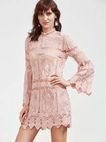 Pink Bell Sleeve Zig Zag Hem Hollow Out Embroidered Lace Dress