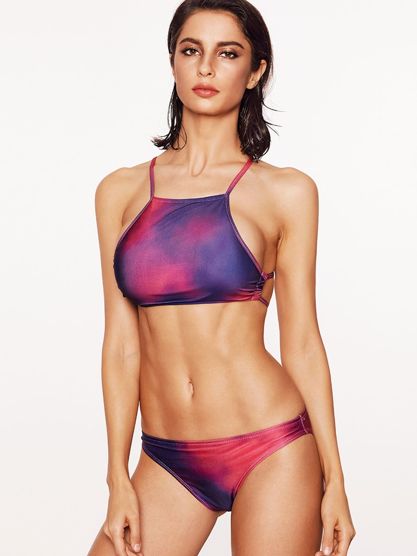 Фото Acid Wash Tie Dye Cross Back Bikini Set. Купить с доставкой