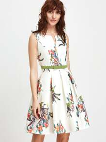 White Floral Sleeveless Open Back A Line Dress