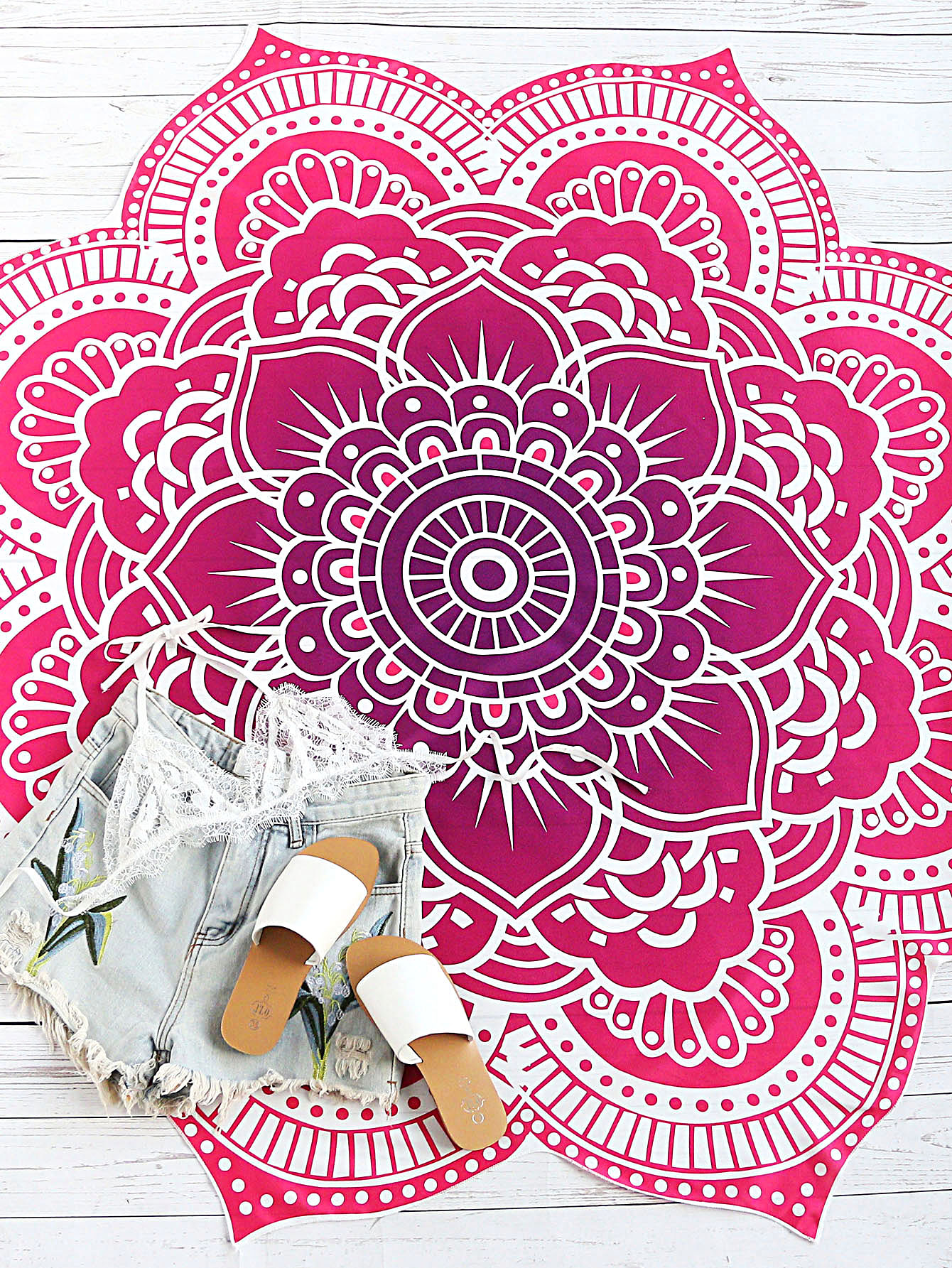 Lotus Mandala Print Beach Blanket