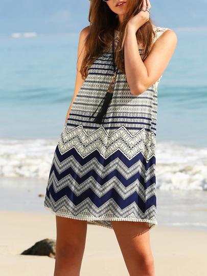 Wave Print Lace Yoke Shift Dress