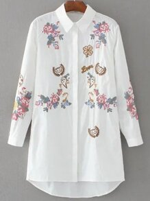 White Embroidery Dip Hem Shirt Dress