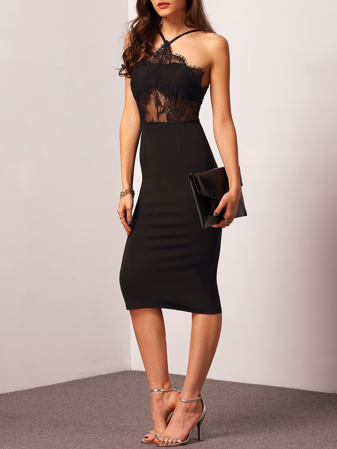 Halter Contrast Lace Sheath Dress sheath lace pencil dress