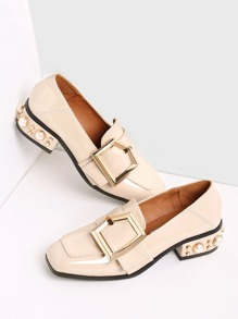 Toe Shoes Beige fibbia design quadrato