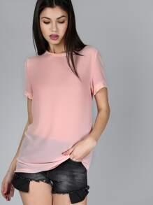 Sheer Short Sleeve Top ROSE