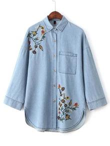 Bleu Fleur Broderie Blouse Denim Avec Poche