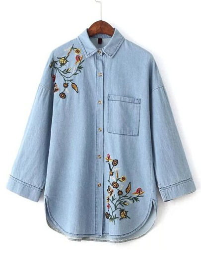 Flower Embroidery Denim Blouse With Pocket