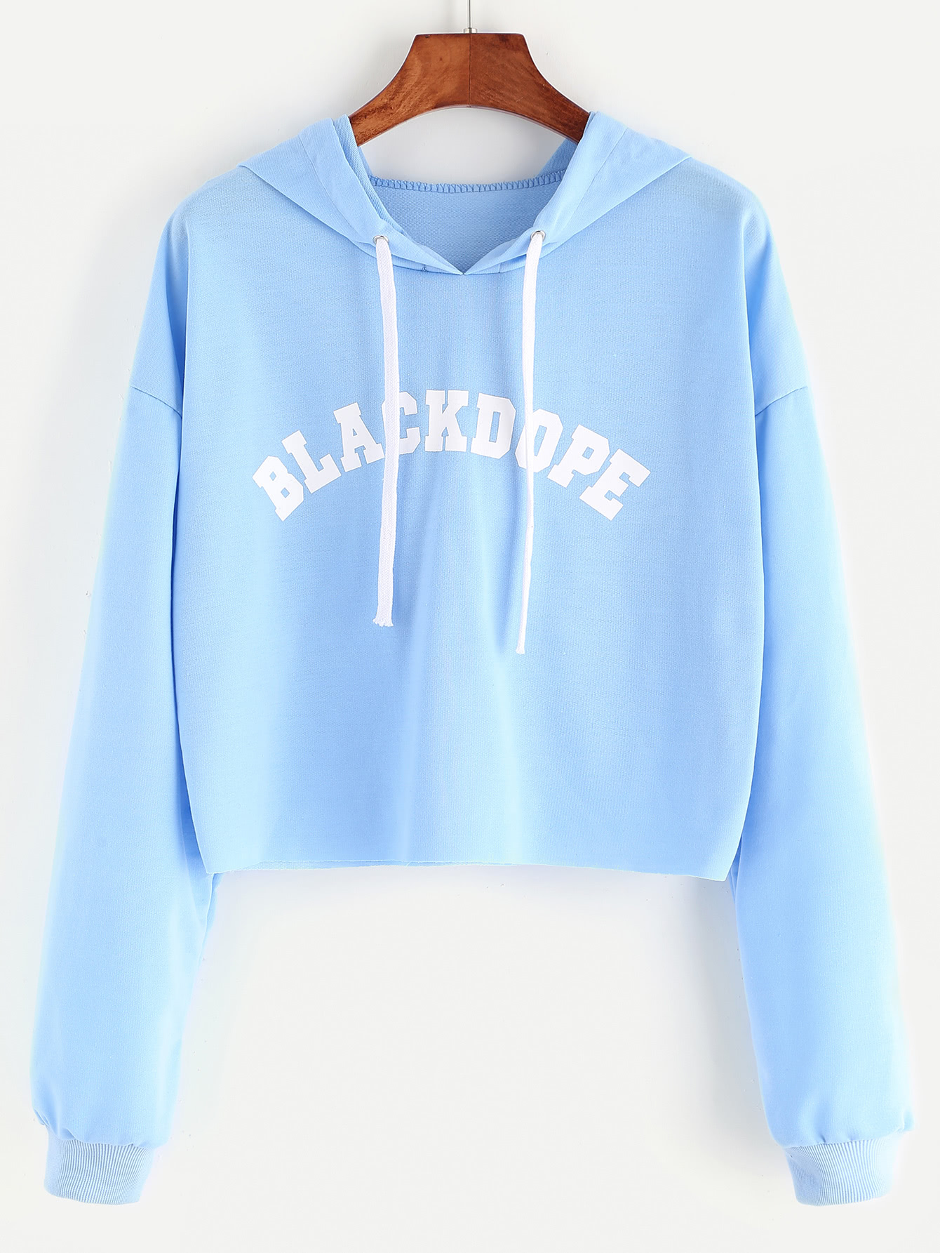 Blue Hooded Letter Print Raw Hem Crop Sweatshirt sweatshirt170215101