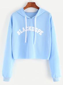 Sudadera corta de capucha con estampado de letra - azul