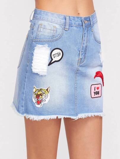 Bleach Wash Patch Detail Frayed Denim Skirt