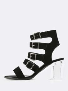 Lucite Strappy Heels BLACK