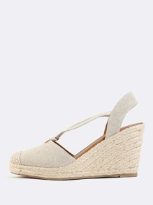 Strappy Linen Wedges SAND