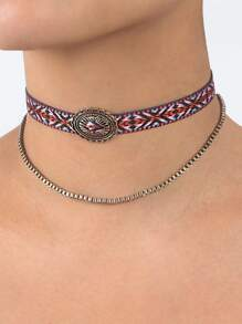 Tribal Print Braided Chain Choker Set MULTI