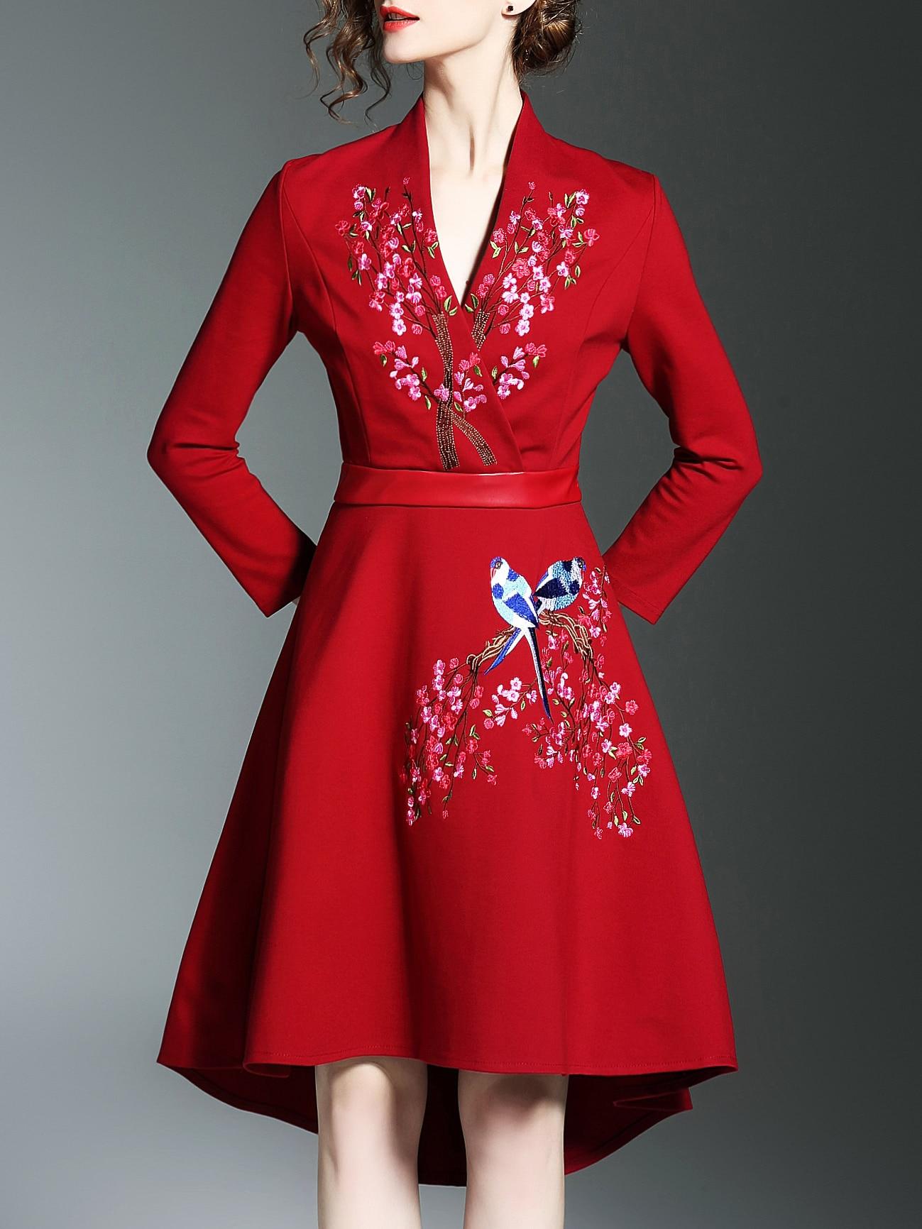 Фото Red V Neck Flowers Embroidered High Low Dress. Купить с доставкой