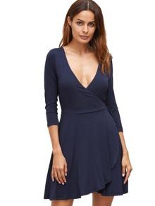 Dark Blue Deep V Neck Wrap Front Flowing Dress