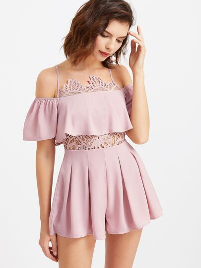 Open Shoulder Lace Insert Frill Playsuit
