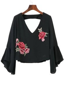 Black Bell Sleeve Open Back Blouse With Flower Patch